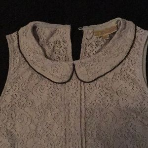 Super Cute Gray Lace Top w/Black Beads